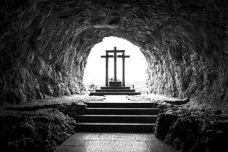 Stone crosses in Sanctuary of Covadonga (Asturias, Spain).