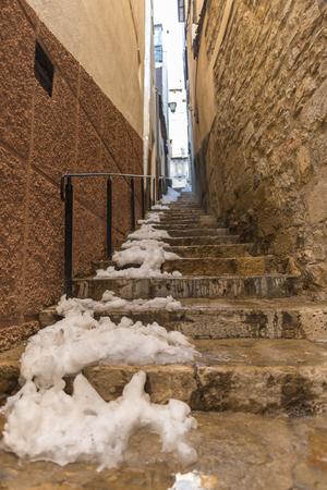Street of Morella (Castellon, Spain). Stock Photo
