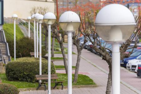 Lampposts In A Row In La Coruna Promenade (Spain). Photo