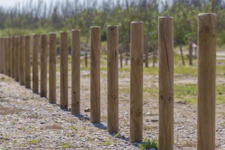 Wooden stacks in a row. Imagens
