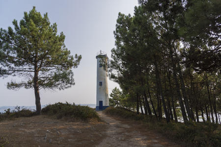 Lighthouse of Punta Subrido in Cabo Home (Cangas, Pontevedra - Spain). Stock Photo