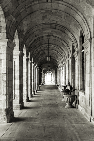 Arches of stone in Obradoiro square (Santiago de Compostela, La Coruna - Spain). Redakční