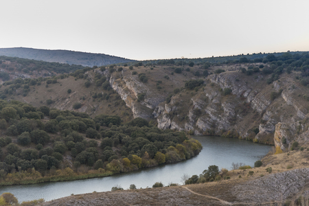 Duero river in Soria viewed from Soria city, Spain.