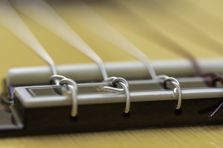 Knots of the strings of a guitar.
