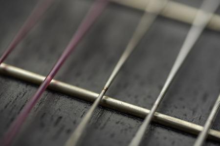 Wear of guitar strings.