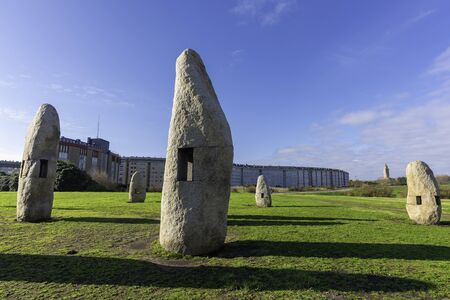 Menhirs and Hercules Tower (La Coruna, Spain).