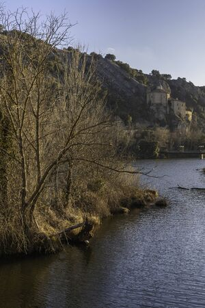 Hermitage of San Saturio and Duero river (Soria, Spain). 版權商用圖片