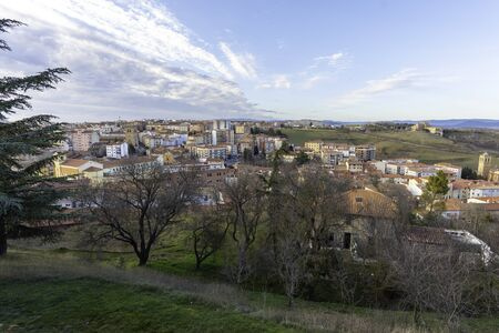 View of Soria city from El Sagrado Corazon lookout (Soria, Spain). 版權商用圖片