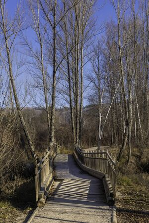 Wooden bridge in river walk of Duero river (Soria, Spain).
