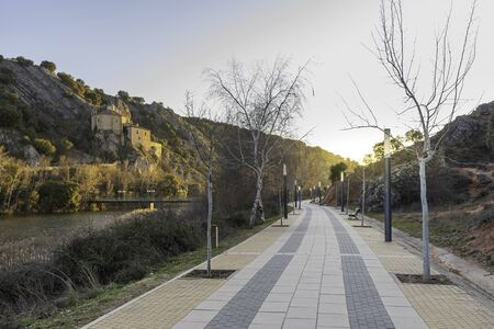 River walk of Duero river and Hermitage of San Saturio (Soria, Spain).