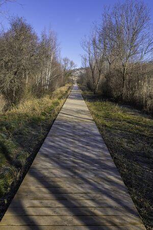Pedestrian walkway in river walk of Duero river (Soria, Spain).