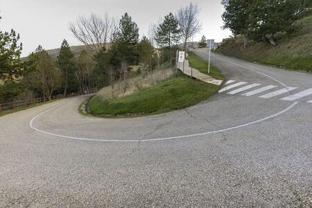 Curved road in Soria, Spain.