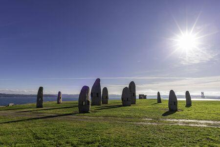 Menhirs in the coast of Hercules Tower (La Coruna, Spain). 版權商用圖片