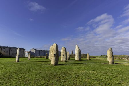Menhirs and Hercules Tower (La Coruna, Spain). 스톡 콘텐츠 - 146304345