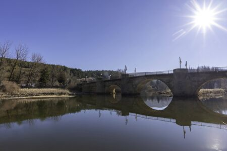 Medieval bridge in Duero river (Soria, Spain).
