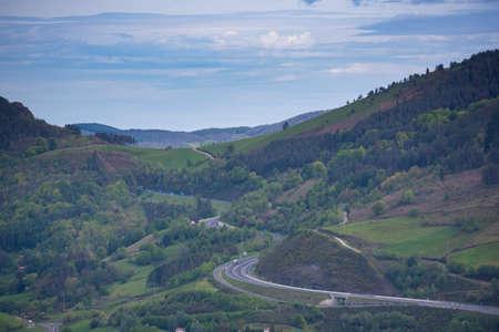 Highway in Navarra (Spain). Stock Photo