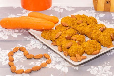 Carrot and oatmeal cookies. Stock Photo