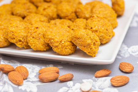 Carrot and oatmeal cookies. Stok Fotoğraf