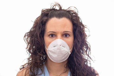 Girl using mask as virus protection.