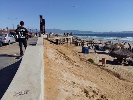 breakwater: Breakwater on beach of Port Sea Coast of the City Editorial