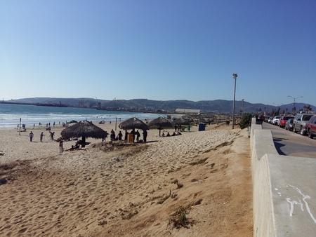 breakwater: Breakwater on beach of Port Sea Coast of the City Stock Photo