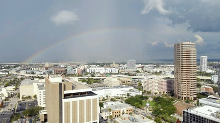 Downtown Tampa city landscape view looking east with a rainbow