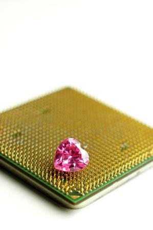 Gold Processor and Pink Diamond Banco de Imagens