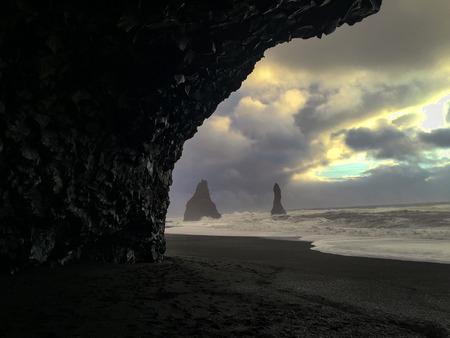 Stone pillars in the sea at Reynisfjara beach, Iceland