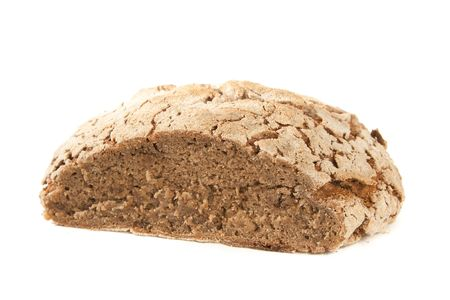close-up of cutted loaf of hot whole rye homemade bread just out of oven and isolated on white background Stock Photo - 8288164