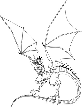 Dragon Line Drawing Stock Vector - 5581060