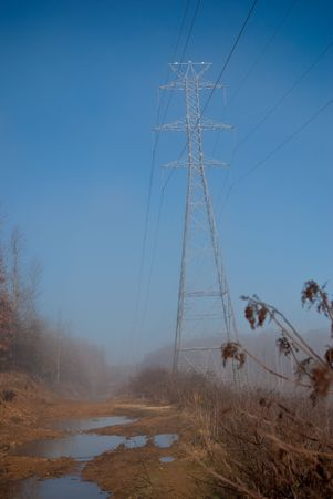 Power lines down a muddy road in fog.