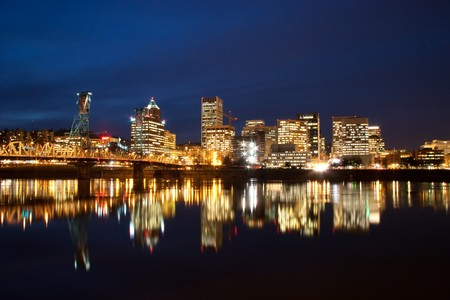 Downtown Portland Oregon cityscape at night.
