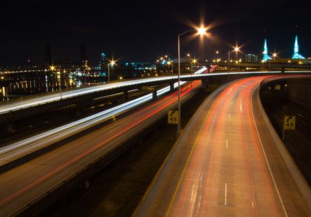 portland oregon: Photos of downtown portland oregon at night showing the busy urban city life of this northwest metro area. Stock Photo