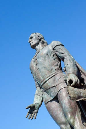 A statue at the historic Coit Tower in downtown San Francisco is a historical landmark for the city.