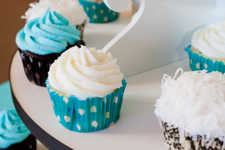 vanilla cake: Several cupcakes on a serving table at a wedding ceremony and reception  The colors here are black, blue, and white