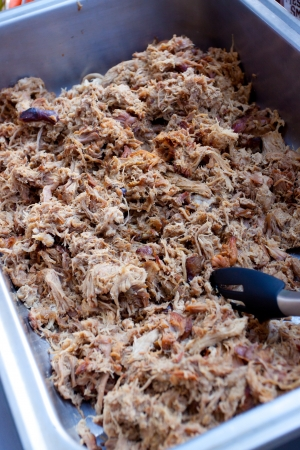 Pulled pork at a buffet table during a wedding reception