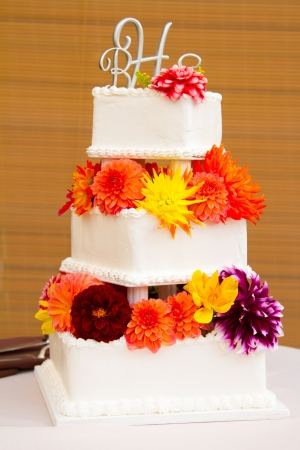 A very traditional white wedding cake at the reception for a bride and groom on their wedding day. Stock Photo - 16947275
