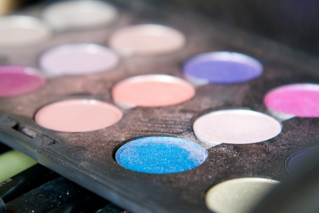 sylist: Some makeup colors in a makeup tray before a wedding