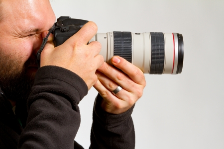 A photographer holds the camera like he is shooting photos  photo