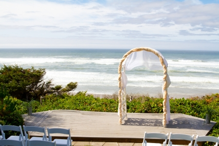 A beautiful setting for a wedding along a beach overlooking the Pacific Ocean in Oregon. photo