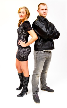 tough: An attractive couple against a white background in the studio to create this isolated portrait.