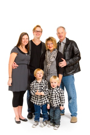 This group of six people includes three generations on an isolated white background in the studio. Stock Photo - 17515204