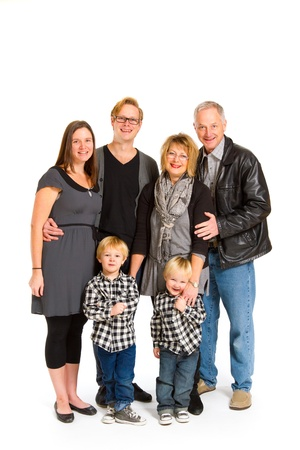 three generations: This group of six people includes three generations on an isolated white background in the studio.