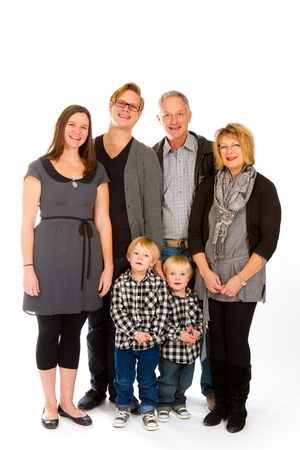 three generation: This group of six people includes three generations on an isolated white background in the studio.