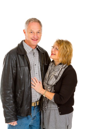 This man and woman look very healthy and in love against an isolated white background in studio. Stock Photo - 17515360