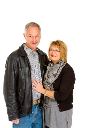 This man and woman look very healthy and in love against an isolated white background in studio. Stock Photo - 17515309