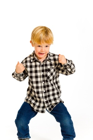 A young boy in a plaid shirt poses for this portrait in the studio against an isolated white background. Stock Photo - 17585060