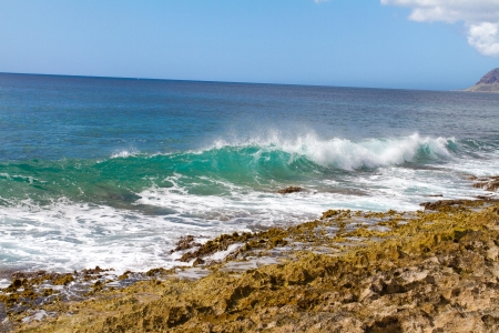 banzai pipeline: These perfectly clear waves form and break on some rocks in a dangerous spot on the west shore of Oahu in Hawaii  You can see right through the waves and the vibrant color of the ocean really shows
