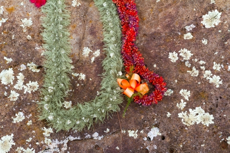 leis: These beautiful flower leis have been placed on the birthing stones in Hawaii on the north shore of Oahu. These historical rocks are the site of where many native queens and kings have been born in the past.