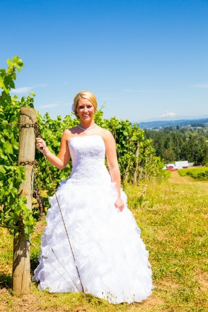 A beautiful bride wearing her wedding dress on her special day at a vineyard outdoors in Oregon during the summer. Imagens
